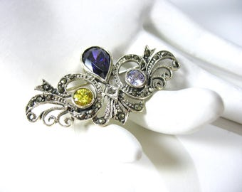 Sterling Marcasite Brooch, Purple Amethyst, Yellow Citrine, 1970's Victorian,  Designer Signed, Teardrop, Pear Shape, Gift Idea, Excellent