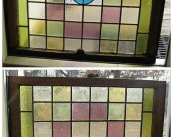 """Antique 1900s American Stained Glass Double Sash Window; Top & Bottom @ 30"""" sq.; Maryland Church ; All Original; Small Red / Aqua Medallion"""