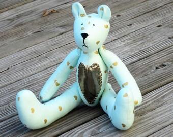 Teddy Bear stuffed bear toy teal mint golden hearts bear doll, softie bear, plushie bear - gift for kids, nursey decor and baby shower gift
