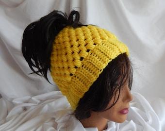 Pony Tail Messy Bun Hat - Crochet Woman's Fashion Hat - Bright Yellow