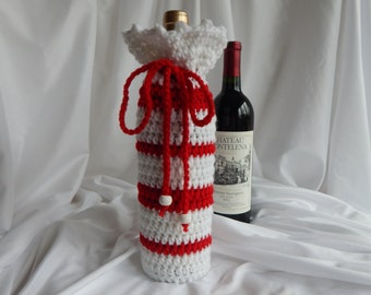 Wine Bottle Cover Crochet Cozy- Red and White with Glitter Beads - Valentine's Day
