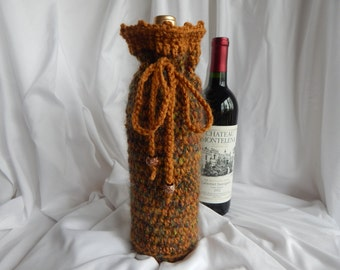 Crochet Wine Bottle Cover Cozy Gift Wrap - Honey Brown with Shades of Metallic Burgundy, Navy & Green with Glitter Beads