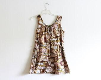 Vintage Woven Hawaiian style tunic blouse / Loose fit / 70's vintage