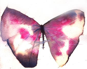 shocking pink and black butterfly original watercolour painting