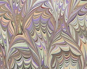 Marbled Paper | Marbling | Green | Frog Foot Pattern | Bookbinding | Endpaper | Ebru | Marbling | Whimsical | Marbled Art | Scrapbooking