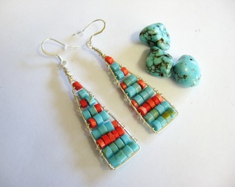 Turquoise Earrings, Turquoise and Coral Earrings, Sterling Silver Earrings, Gemstone Earrings, Southwestern Earrings, Statement Earrings