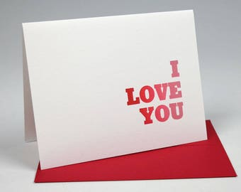 I Love You Letterpress Card - Rainbow Roll - Valentine's, Anniversary