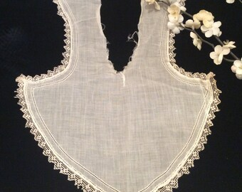 Antique White Cotton Batiste Lace Trimmed Collar, Vintage Net Lace Collar