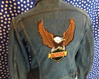 1970's two pocket Lee denim jacket with a Honda Motorcycle back patch, small