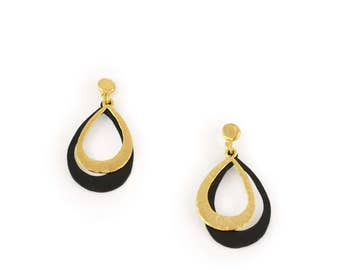 Gold and black dangle earrings, gold drop earrings, black drop earring, gold dangle earring, black dangle earring, modern earring, two tone