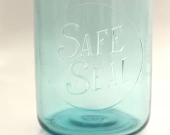 Safe Seal Canning Jar, Blue Safe Seal Jar, Safe Seal Quart Canning Jar, Blue Quart Canning Jar, Vintage Canning Jar,