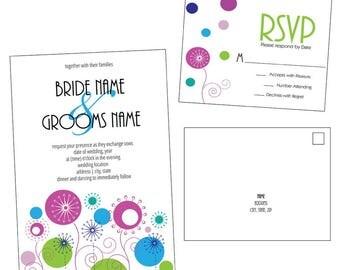 Customizable Dandelion Wedding Invitation & RSVP Post Card [Digital File ONLY]