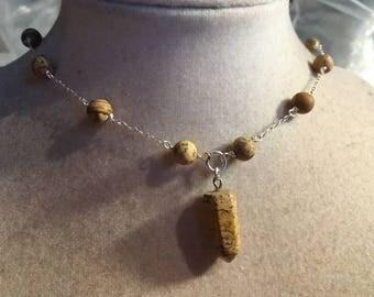 Brown Necklace - Jasper Gemstone Jewellery - Sterling Silver Jewelry - Chain - Spike - Pendant