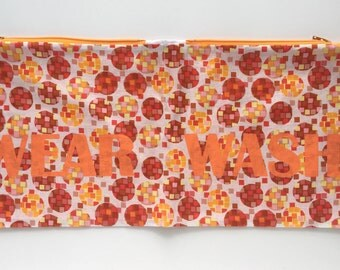 Orange and Yellow Squares and Circles Wear and Wash Travel Laundry Bag