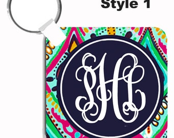 Personalized Key Chain - Monogrammed Keychain- Perfect Sweet Sixteen Gift - Lilly Inspired Jeweled