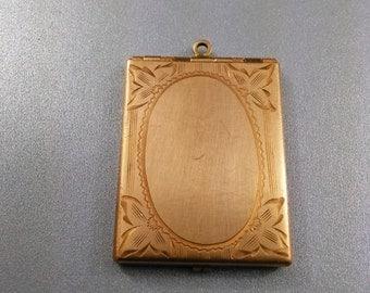 Antique gold filled etched locket