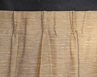 Pair of Very Long Vintage Woven Textured Curtains - Two Drapery Panels