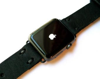 Leather Apple Watch band 38mm leather watch band, Apple watch strap, iwatch band, apple watch leather band black leather strap white band