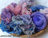 Dyed British Rare Breed Mixed Wools for Blending. 132gms. Spinning & Felting supply. Merino, Shetland, Teeswater, silk. 'Lavender Fields'