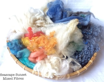 Dyed British Rare Breed Mixed Wools for Blending. 143gms. Spinning & Felting supply. Merino, Shetland, Teeswater, silk. 'Seascape Sunset'