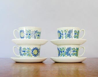 Four Mid Century Figgjo Flint Tor Viking Cups / Mugs / Saucers