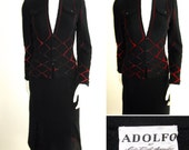 RESERVED Beautiful 1960s Adolfo at Saks Fifth Avenue Black Knit Skirt Suit with Ombre' Yarn Detail