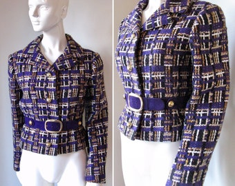 Vintage 1970s Saks Fifth Avenue Purple Black Brown Belted Wool Jacket Blazer Coat