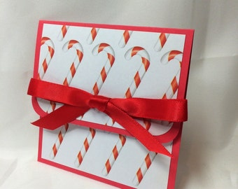 Peppermint Candy Cane Christmas Gift Card Holder