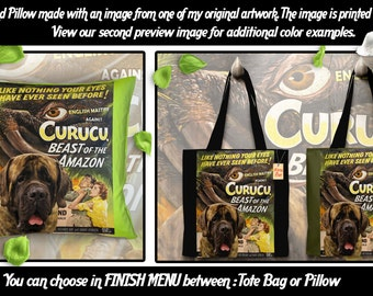 English Mastiff Pillow or Tote Bag/English Mastiff Art/Dog Tote Bag/Dog Pillow/Dog Art/Custom Dog Portrait - Curucu Movie Poster