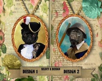 Pug Jewelry. PUG Pendant or Brooch. PUG Necklace. Pug  Portrait. Custom Dog Jewelry by Nobility Dogs. Dog Handmade Jewelry