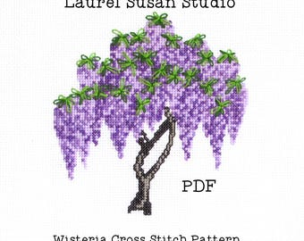 Wisteria Cross Stitch Pattern, PDF Digital, Spring Purple Lavender Violet Flowers, Blossoms