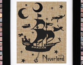 ON SALE! Burlap Print | Peter Pan Nursery | Neverland Nursery Art | Kid's Story Time Art | Item #BP-0309-p