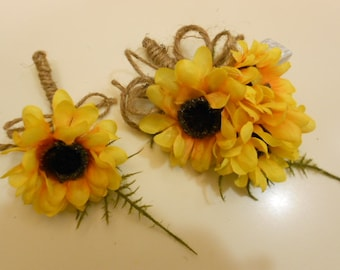 2 piece Prom Corsage and Boutonniere. Silk Sunflower. Rustic Country Westtern Jute Twine Burlap bow> Wedding Wrist Corsage.