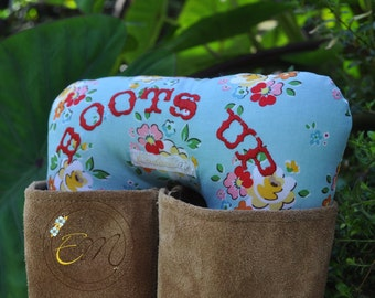 Boots Up by Endear Me Handmade boot stuffer in Blue Floral Cotton fabric - closet organizer; boot trees