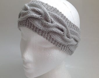 Ladies Dove Grey Cable Knit Ear Warmer Headband - Hand Knitted in Scotland