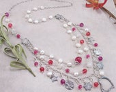 Ruby Jade, Freshwater Pearl, Swarovski Crystal Sterling Silver Necklace with PMC Metal Clay Charms