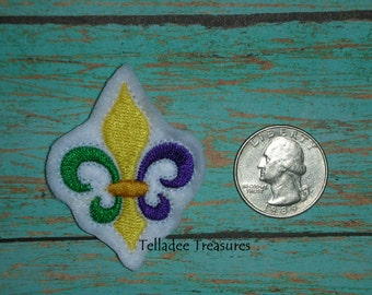 Fleur de lis Feltie -Small white felt - Great for Hair Bows, Reels, Clips and Crafts - Mardi Gras New Orleans Party flower lily emblem