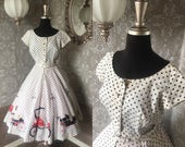 Vintage 1950's White and Black Polka Dress with Touring Car Novelty Print Small