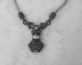 Vintage Judith Jack Sterling Silver Marcasite and Cubic Zirconia Art Deco Style Necklace Choker ~ Hallmark JJ