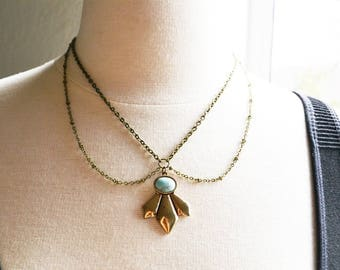 Turquoise Howlite Bronze Choker Collar Necklace