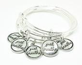 JUST BREATHE Charm Bracelet - Silver Bangle Adjustable Bracelet - Add a Swarovski Birthstone - Charm Bracelets