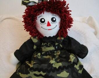 Handmade  Camo Raggedy Ann Doll