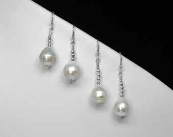 Chinese Pearl Earrings in Silver, Choice of 2