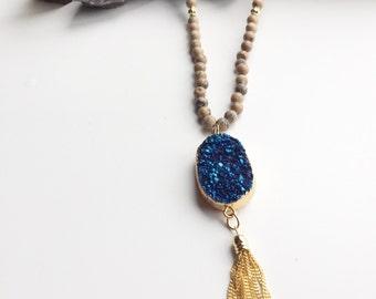 Druzy beaded gold tassel necklace