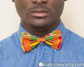Men's Bow tie:  Kente clip on bow tie, unisex, men, women's bow tie