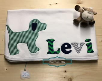 Personalized Baby Blanket, Personalized Baby Gift, Newborn Blanket, Baby Shower Gift, Monogrammed Baby, Baby Boy Dog