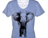 ON SALE Women's T Shirt Elephant T-Shirt - American Apparel Tshirt - S M L Xl (16 Color Options)