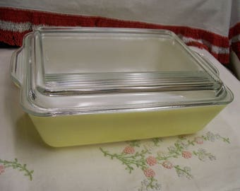 Vintage Pyrex Refrigerator Dish Yellow 503 2pc Good Condition Food Storage Keeper Leftover Covered Dish