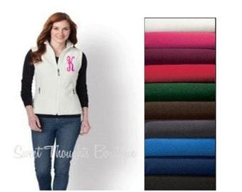 Monogram Fleece Vest, Ladies Monogrammed Vest, Initials Fleece Vest, Womens Monogram Vest, Fleece Zip Up, Custom Fleece Vest