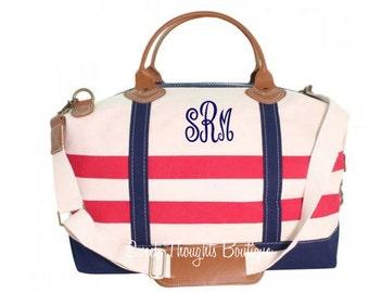 Nautical Weekender Monogrammed Bag, Monogrammed Nautical Duffel Bag, Monogrammed Overnight Bag, Carry On Bag, Bridal Party Gift